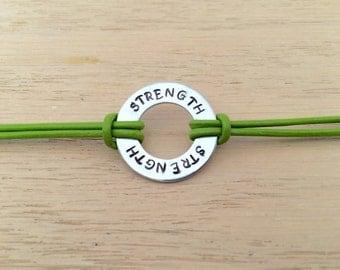 Strength Bracelet, Green Bracelet, Motivational Bracelet, Leather Bracelet, Inspirational Bracelet, Custom Bracelet, Gift For Her