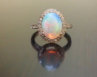 18K Rose Gold Halo Diamond Opal Engagement Ring Rose Gold