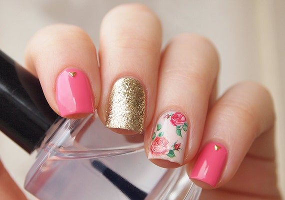 Red vintage rose nail decals/ Red rose nail stickers/ Nail ...