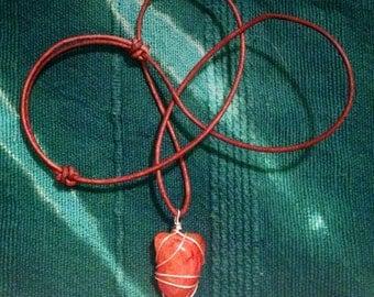 Wire Wrapped Carnelian Pendant