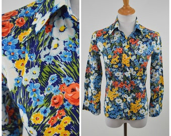 70s Bright Floral Polyester Button Up Shirt Blouse // Blue, White, Orange Yellow // Pop Art Boho Hippie Style