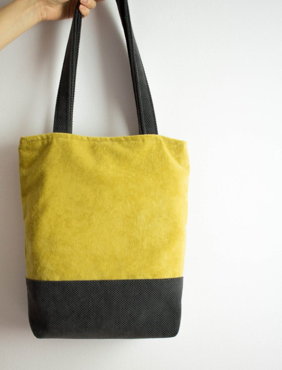 Yellow And Grey Bag Upholstery Fabric Yellow Tote Shoppers