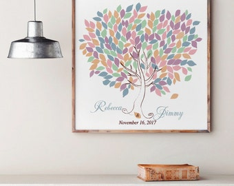 Wedding Tree Guest Book   Wedding Guest Book Tree   Personalized Wedding Print   50-300 Guests   Canvas or Flat Print   Rustic Wedding