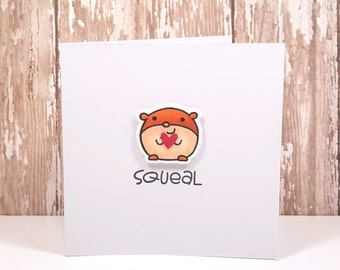 Hamster Greeting Card, Hamster Love Card, Encouragement Card, Cute Animal Card, Hand Stamped Card