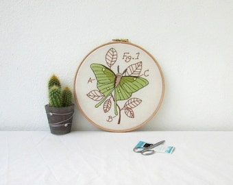 Luna moth hand embroidery hoop art, entemology insect art, scientific drawing, gift for scientist, handmade in the UK