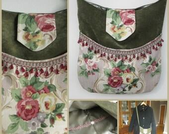 ROSE GARDEN Vintage Boho Style Beaded Fringe Chenille Messenger Bag, Bohemian Bag, Gypsy Bag, Crossbody Bag, Victorian Bag, Ravengirl Design