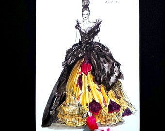SECONDS SALE* Dior Haute Couture One of a Kind Hand Illustrated Notebook Sketchbook