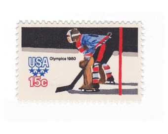 10 Unused Vintage Postage Stamps - 1980 15c Winter Olympics Hockey - Item No. 1798