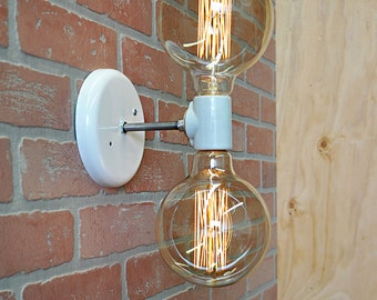 Double Light Wall Sconce- Industrial Wall Lamp With Edison Bulbs, Wall Light Fixture