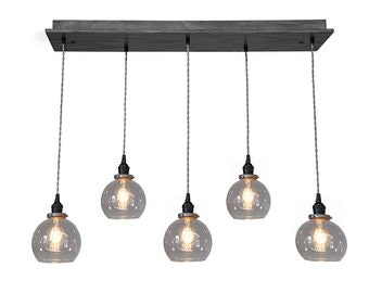 Globe Pendant Chandelier With Edison Bulbs - Kitchen Lighting