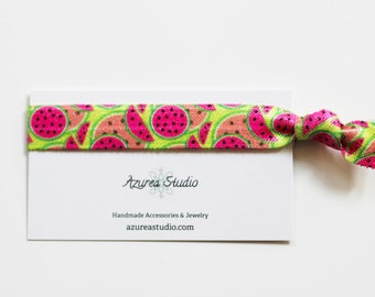 Watermelon Pink Green Hair Tie