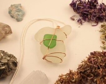 White and Green Seaglass Pendant