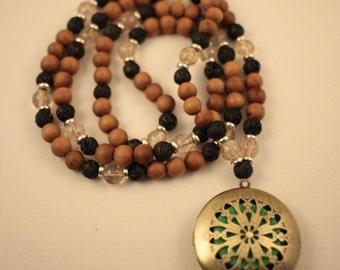 Fragrant Indian Sandalwood, Lava Stone and Citrine Quartz 108 bead mala with Essential Oil Diffuser. Meditation jewelry.