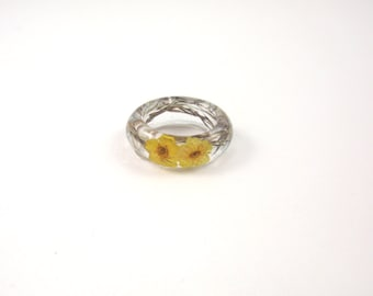Nature ring, Real flower Resin ring, Flower resin jewelry, Pressed flower jewelry, Botanical ring, Resin jewelry