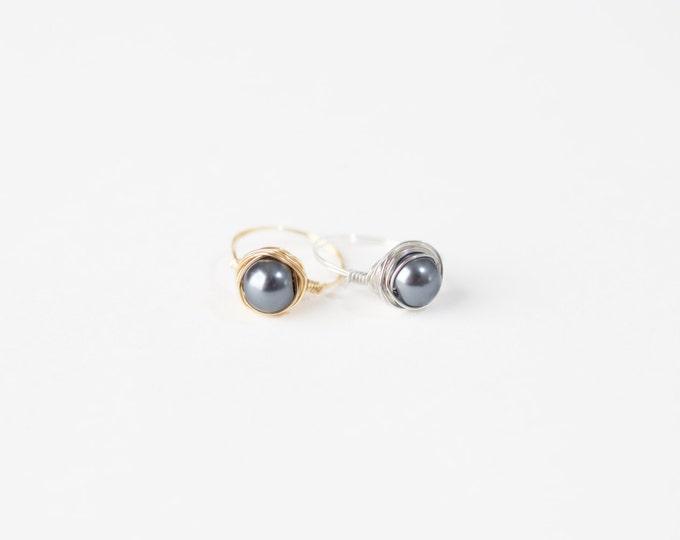 Grey Pearl Ring - Grey Pearl Wire Ring - Grey Pearl Silver Wire Ring-Grey Pearl Gold Wire Ring-Wire Jewelry -Silver Wire Ring-Gold Wire Ring