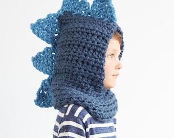 Kid's Dino Hood in Blue