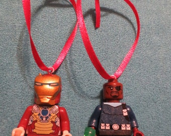 Marvel Heroes Christmas Ornaments - Iron Man and Nick Fury