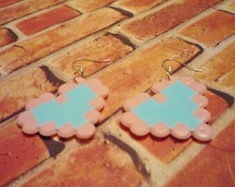 Pastel Blue and Pink 8-bit Heart Earrings,  Retro Classic Earrings, 8 bit fusible bead earrings, Heart pixel earrings, zelda heart earrings