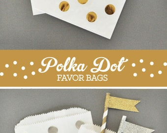 Gold Favor Bags - Silver Favor Bags - Party Favor Bags - Polka Dot Favor Bags Candy Bags - Paper Favor Bags 2| (EB2358CD) - set of 24