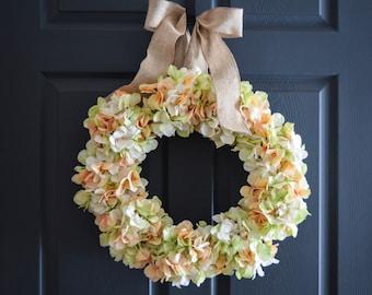Wedding Wreath Hand Blended Hydrangea Wreath    Peach Green Ivory Colors  Hydrangea Wreath    Front Door Wreaths   Wedding Flowers