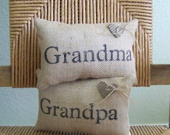 Grandma pillow, Grandpa pillow, mini pillow, Grandparents pillow, Personalized pillow, stenciled pillow, Grandparents gift, FREE SHIPPING!