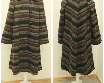 "DESIGNER 1960's ""Dereta - London"" Pure New Wool Swing Coat - Mexican Blanket Style Stripes"