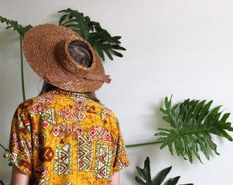 60s hawaaii Tropical Button Front