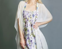 Silk Nightie in a Viola Floral Pattern. Classic Bias Nighty or Silk Slip & Satin Nightwear, Luxury Gift
