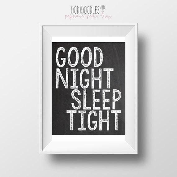 Good night sleep tight chalkboard nursery printable baby shower gift