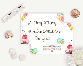 Just Because UnBirthday Card - Watercolor Desserts - Just Because Cards - Glossy and Matte Card Stock