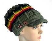 Rasta newsboy hat, chunky dreadlock rasta crown, camouflage brimmed hat, unique rastafari soldier cap
