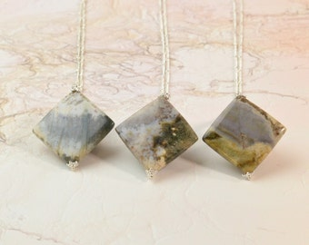 Ocean Jasper Necklace, Ocean Jasper Pendant, Ocean Jasper Jewelry, Gemstone Necklace, Long Necklace, Stone Necklace, Silver Satellite Chain