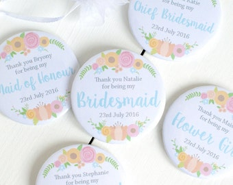 Personalised Bridesmaid Pocket Mirror Gift - Bridesmaid Gift - Bridesmaid Mirror - Thank You Bridesmaid - Personalised Compact Mirror