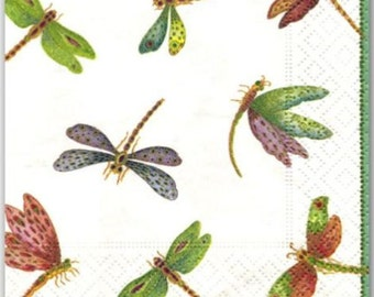 TWO (2) Dragonflies Paper Cocktail Napkins for Decoupage and Paper Crafts