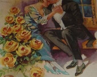 Please Cupid Please Me Loving Couple and Cupid Vintage 1920s Valentine Postcard