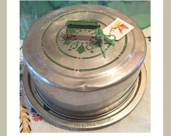 Vintage cake carrier stainless steel green accents