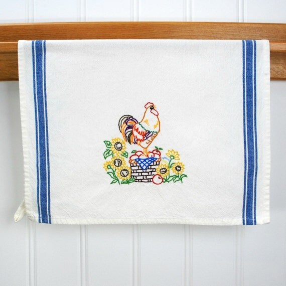 Farmhouse Kitchen Linens: Rooster Kitchen Decor Farmhouse Decor Hand Embroidered