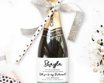 Will You Be My  Bridesmaid Mini Champagne Labels - Starting at (4) Labels - Perfect Bridesmaid Boxes or Maid of Honor Proposal
