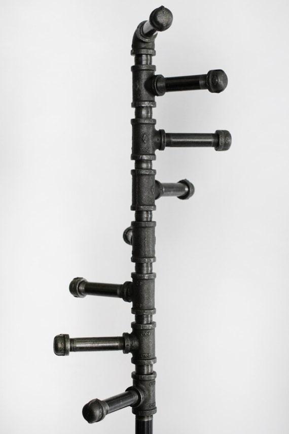 Standing Coat Rack Industrial Style Black Pipe Spiral Coat