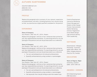 minimal modern resume cv template word mac or pc professional free