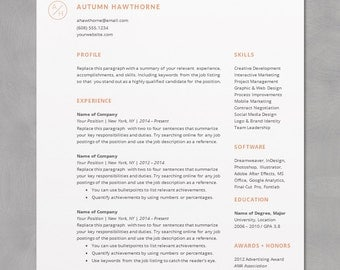 minimal modern resume cv template word mac or pc professional free - Resume Template Word On Mac