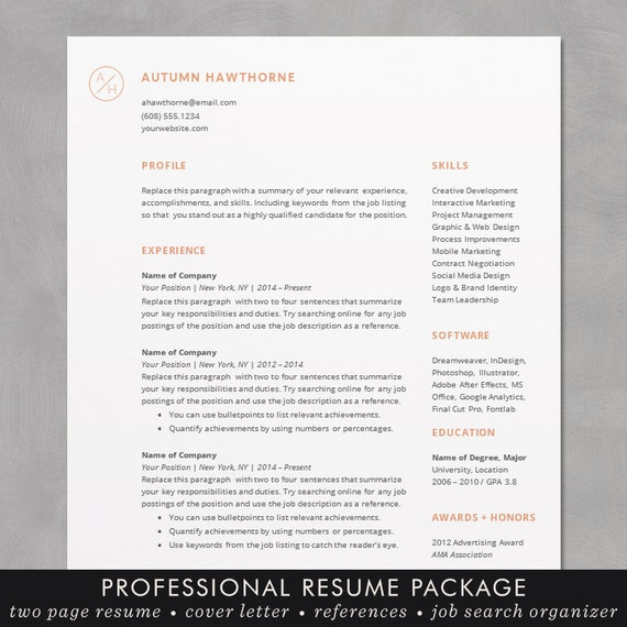 minimal modern resume cv template word mac or pc professional free cover letter creative minimal design the autumn - Resume Template Word Mac
