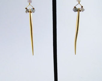 matte gold spear earrings with labradorite and moonstone