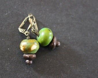 Casual green earrings, Howlite earrings, Small everyday earrings, Gift for her