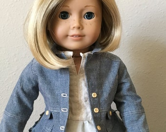 "Boomerit Jacket - Blue Chambray for 18"" American Girl Doll"