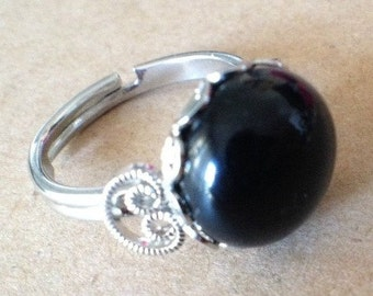 Plate Silver ring and Black Agate, adjustable ring