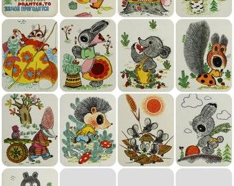 "Illustrator Golubev. ""Winter eats what summer lays up"" Set of 12 Vintage Soviet Postcards - 1968. Sovetskiy hudozhnik. Hare, Animals, Carrot"
