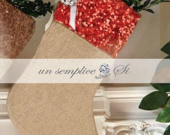 Sequin Christmas  Stocking, Burlap and sequin trim