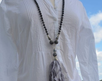 Silk Sari Tassel, Picasso Jasper, Labradorite black pearl sterling Necklace. One of a kind!