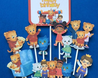Daniel Tiger cupcake toppers, Daniel Tiger cake topper, Daniel Tiger party, O the Owl toppers, Prince Wednesday, Katerina Kittycat